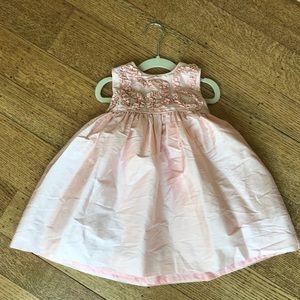 Luli & Me Sz 24 Mo Silk Dress w Pearl Detail GUC
